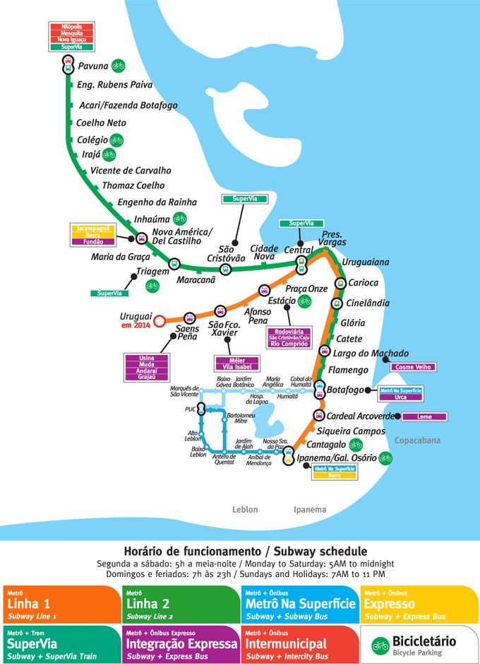 Rio de Janeiro Subway Map